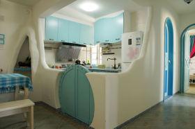 蓝色创意时尚混搭风格厨房装修图片