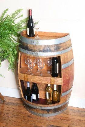 原木色美式风格个性酒柜图片