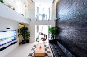 黑色现代风格客厅电视背景墙图片