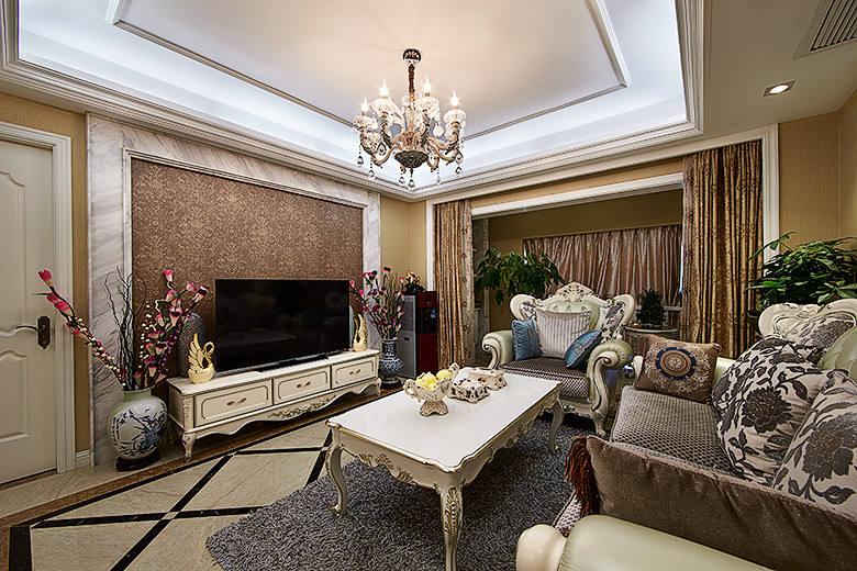 褐色欧式风格客厅装饰设计图片