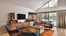 橙色东南亚风格客厅装修案例
