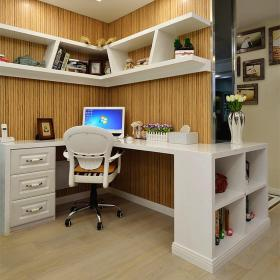 橙色简约风格书房装修设计
