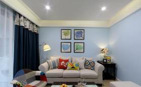 温馨甜美清新田园蓝色客厅装潢赏析