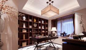 米色新中式雅致古典书房效果图欣赏