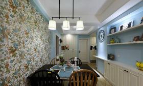 蓝色田园餐厅背景墙装饰设计图片