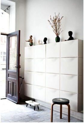 白色清爽实用简约风格鞋柜设计装潢