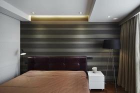现代风格灰色条纹卧室背景墙效果图