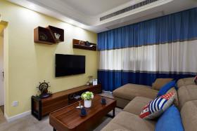 地中海风格客厅背景墙装修效果图片