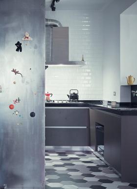 创意混搭风格灰色厨房效果图欣赏