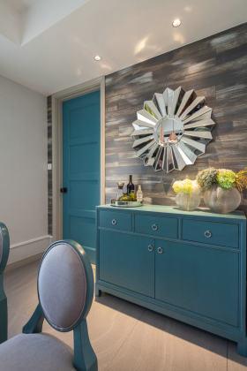 美式创意时尚蓝色餐边柜装修效果图