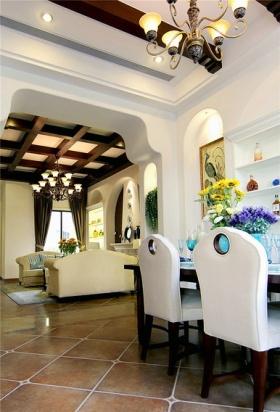 白色东南亚风格餐厅垭口效果图设计