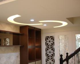 混搭风格米色客厅吊顶设计