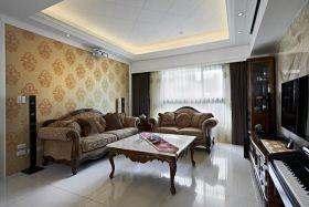 美式风格黄色客厅背景墙装修布置