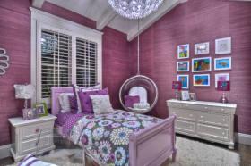紫色东南亚风格卧室装修效果图欣赏