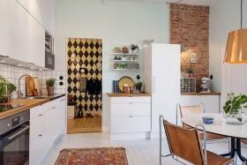 创意混搭白色厨房装修图