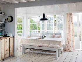 自然美式乡村田园风格餐厅窗帘装修效果图