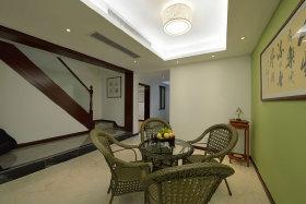 中式风格古典绿色客厅图片