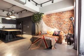 橙色现代风格客厅背景墙设计案例