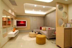 现代风格温馨黄色客厅设计图
