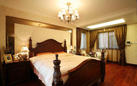 新古典风格黄色卧室窗帘效果图