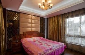 新中式黄色雅致卧室窗帘效果图