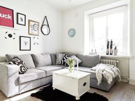 宜家风格灰色休闲客厅装修图