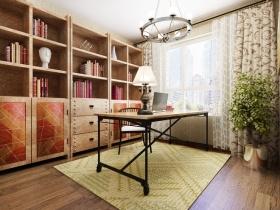 彩色美式风格书房设计效果图