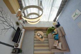 雅致浪漫现代风格蓝色客厅图片