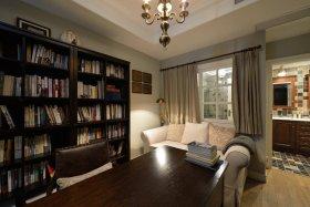 美式复古灰色书房效果图