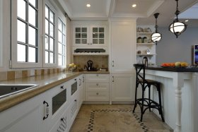 白色简欧风格厨房效果图欣赏