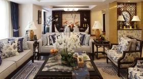 蓝色青花瓷中式风格客厅沙发设计赏析