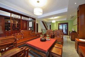 中式复古红色客厅装修布置