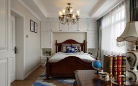 美式风格白色卧室窗帘图片