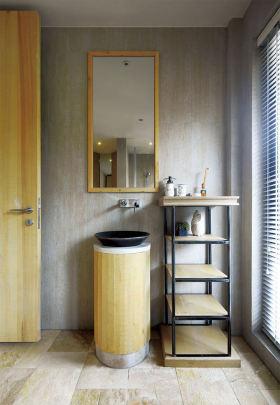 原木色日式风格卫生间浴室柜装修设计
