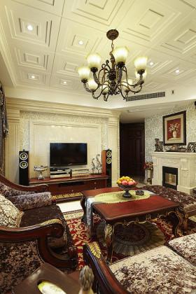 红色新古典风格客厅沙发装修设计