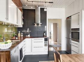 灰色现代简约厨房装修效果图片