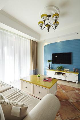 蓝色简约地中海客厅背景墙美图
