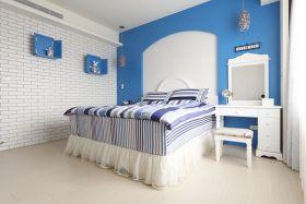 蓝色唯美青黄地中海风格卧室设计装潢