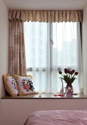 米色新中式风格卧室飘窗设计案例