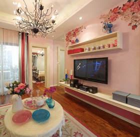 浪漫甜美田园风格粉色客厅设计欣赏