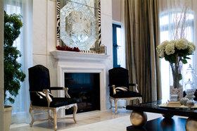 精致时尚米色简欧风格客厅背景墙装修效果图片