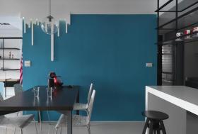 蓝色现代餐厅背景墙设计欣赏