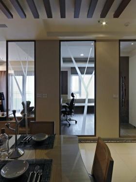 雅致时尚米色现代风格透明隔断效果图设计