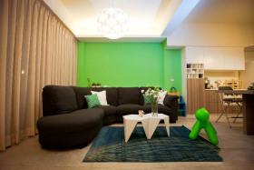 绿色现代风格靓丽客厅背景墙效果图赏析