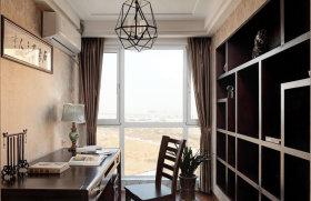 黑色雅致中式复古混搭书房设计欣赏