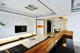 白色简约风格客厅背景墙装修设计美图