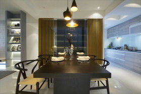 黑色现代风格餐厅餐桌设计装潢