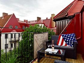 时尚红色混搭风格阳台欣赏
