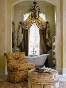黄色东南亚风卫生间窗帘设计欣赏