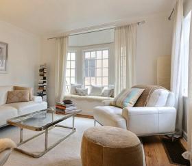 米色宜家客厅窗帘图片